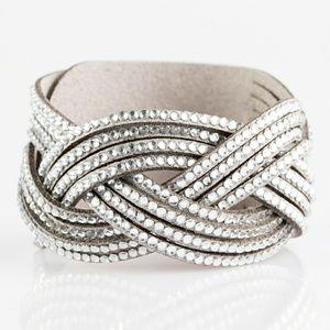 Braided rhinestone strap bracelet